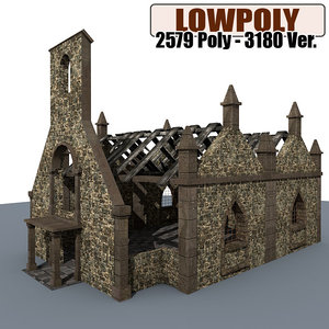 3d ruined house games model