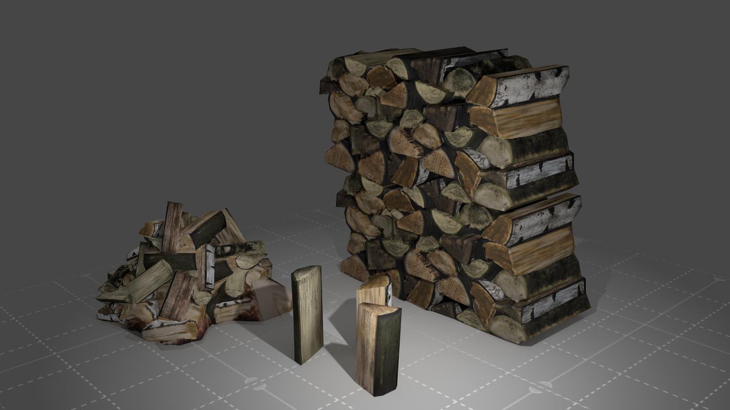 3d model wood firewood