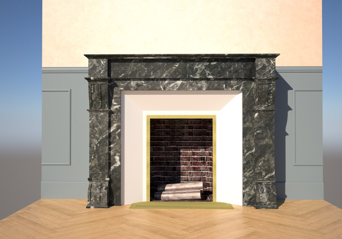 old french fireplace 3d 3ds