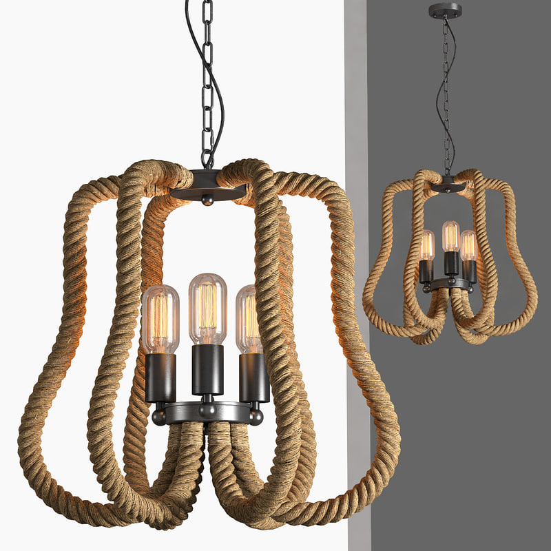 loft industrial lamps rope obj