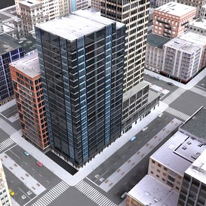 3d cityblock scene highrise model