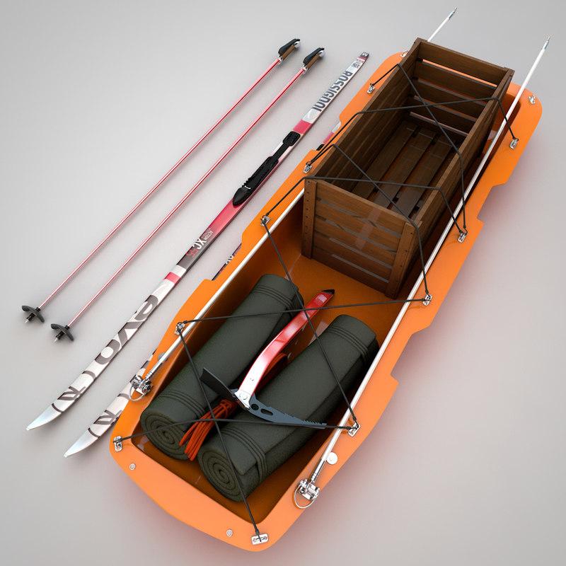 arctic cargo sled 3d c4d