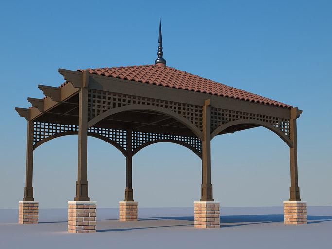 wooden pergola roof tiles 3d model