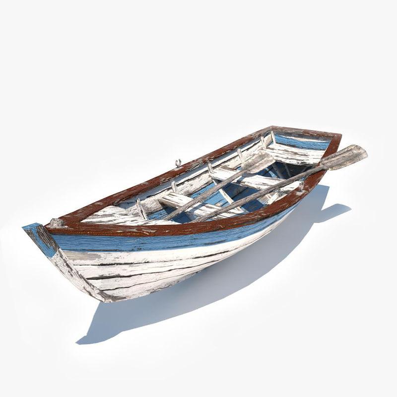 3d old row boat v2 model
