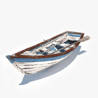 3d old row boat v2 model