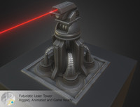 futuristic laser tower 3d 3ds
