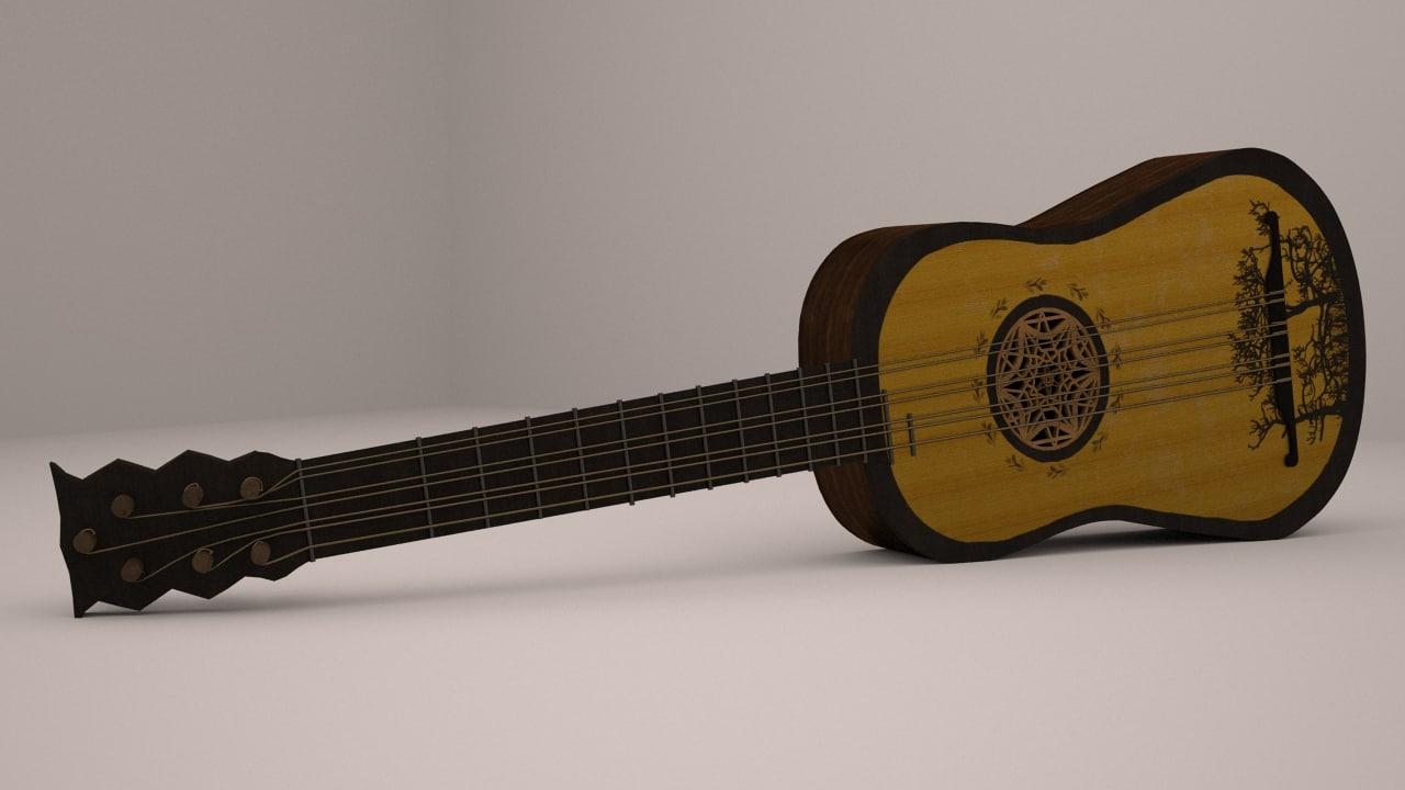 3d baroque guitar