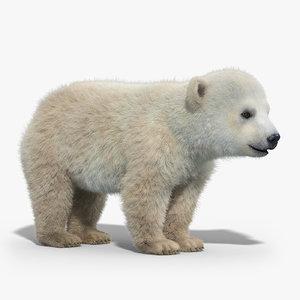 polar bear baby fur hair 3d max