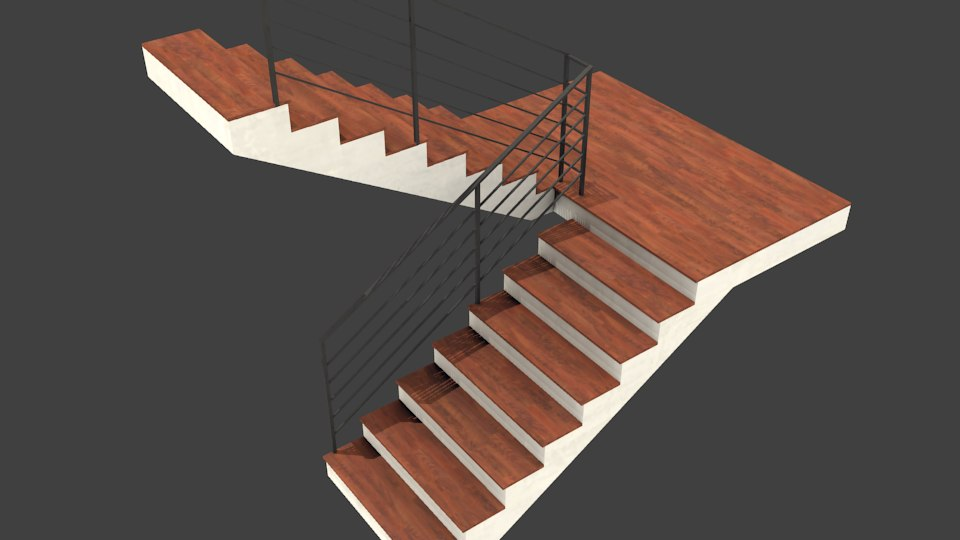 stair staircase 3d x