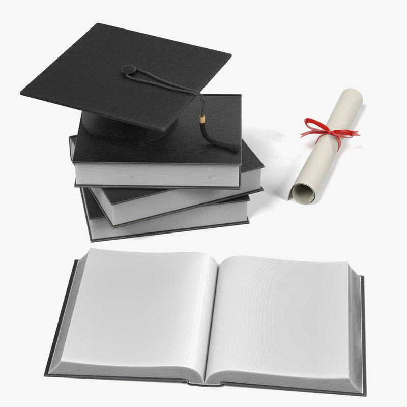 3d graduation hat diploma