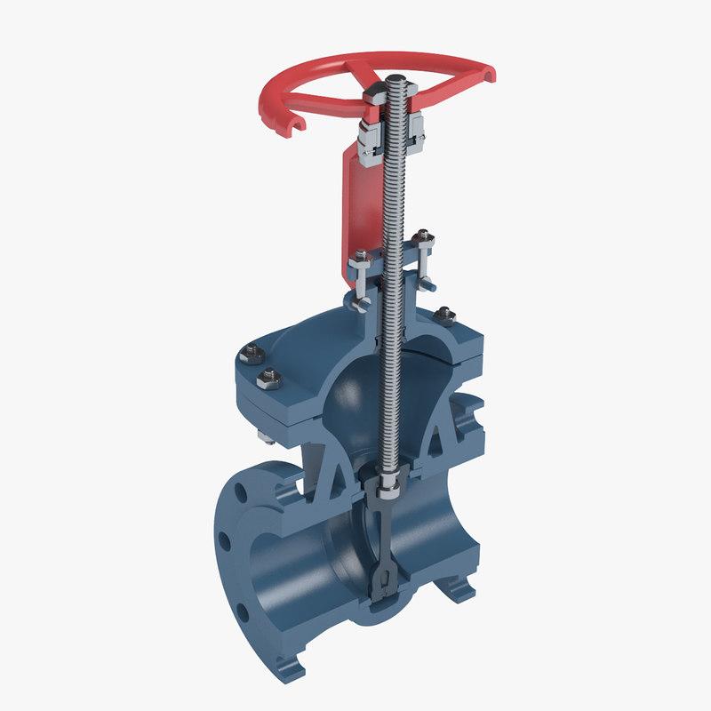 3d model gate valve cross section
