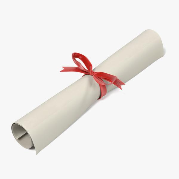 3d model graduation diploma