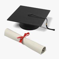 graduation diploma cap 3d model