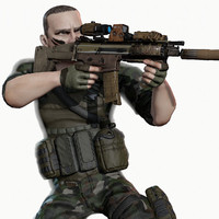 Rigged PBR Game Ready Male Soldier Hunter Militant  Paramilitary (Several Color Options)