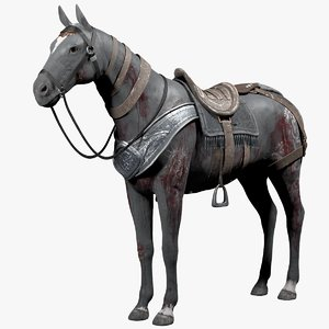 3d model wounded warrior horse