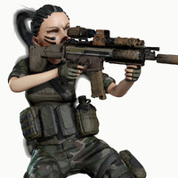 Rigged PBR Game Ready Female Soldier Hunter Militant Paramilitary (Several Color Options)
