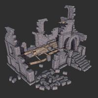 old medieval house ruins 3d model