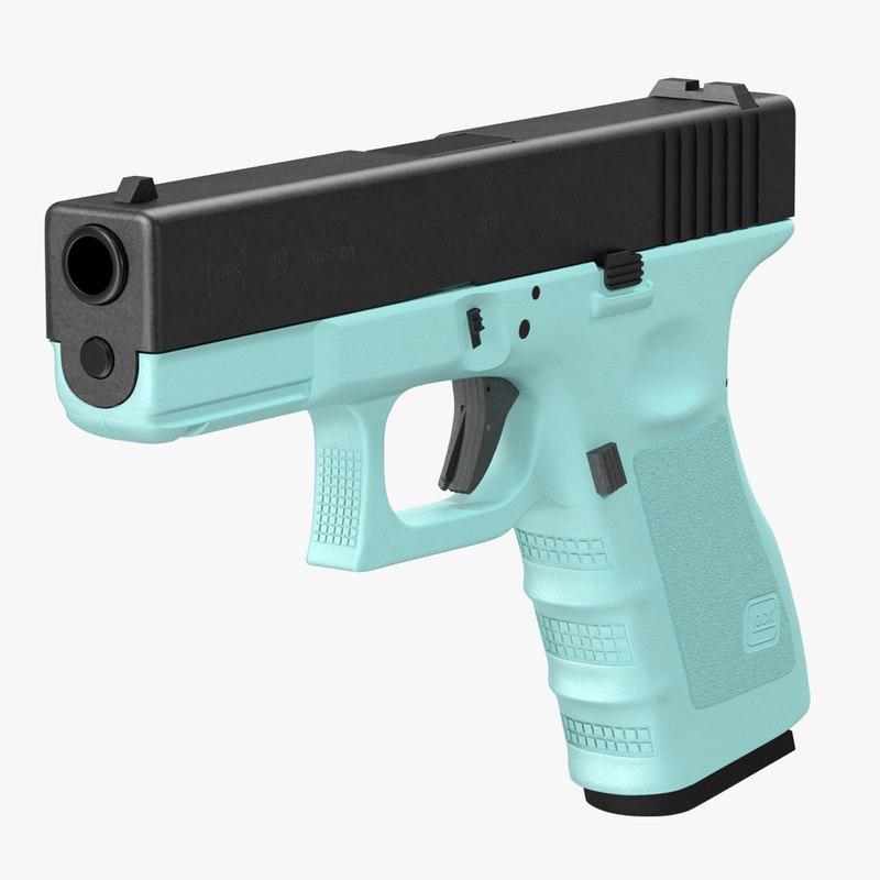 glock 19 blue 3d c4d