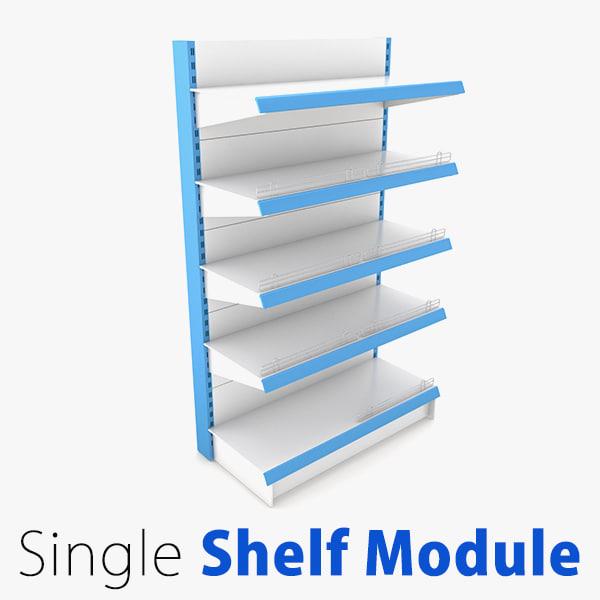 supermarket single shelf module 3d 3ds