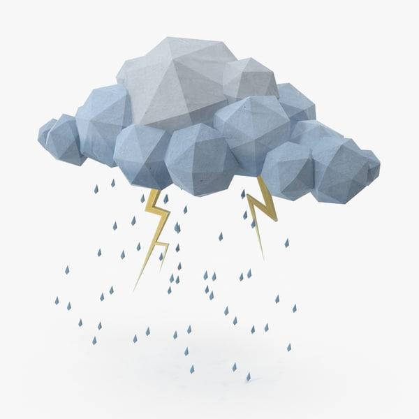3d cloud storm lightning model