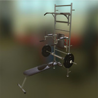 set gym equipment 3d 3ds