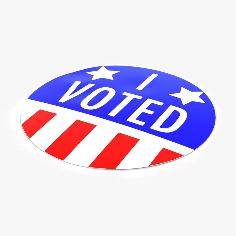 voted sticker 3d model