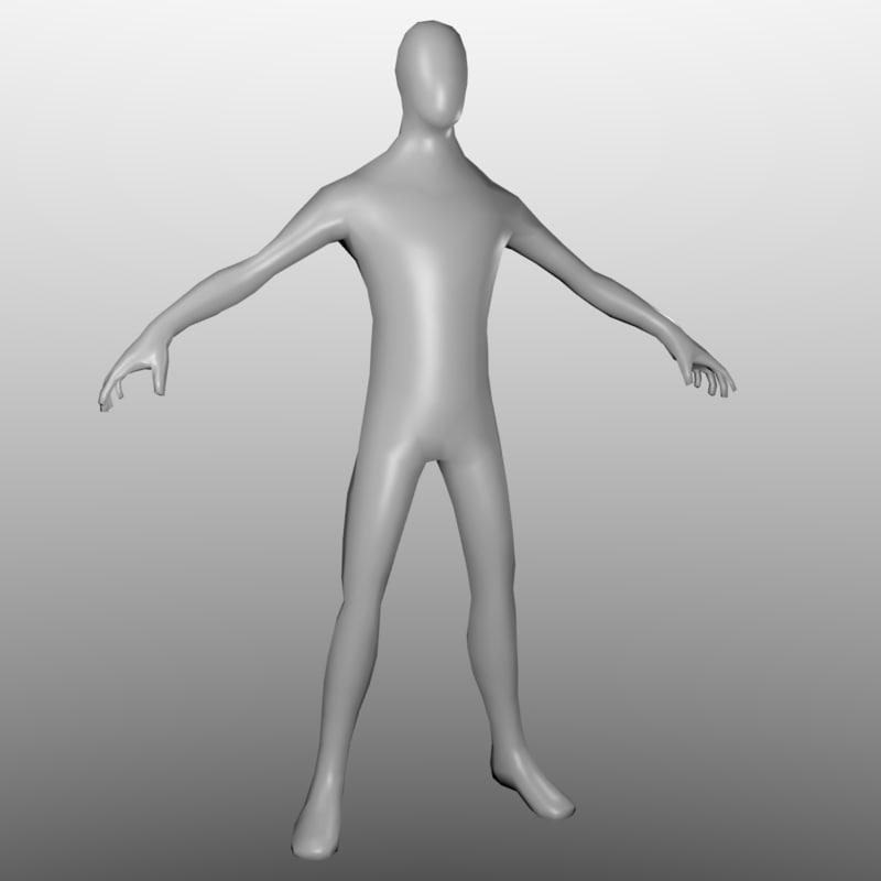 lowpolygon human base mesh max free