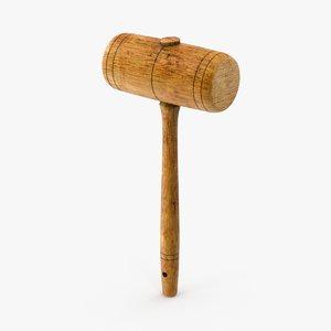 vintage wooden mallet 3d max