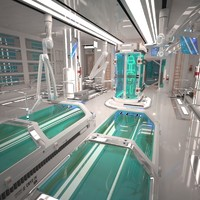 futuristic laboratory interior 2 3d model