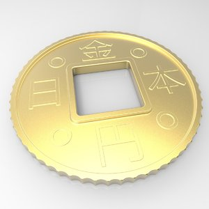 obj japanese coin gold
