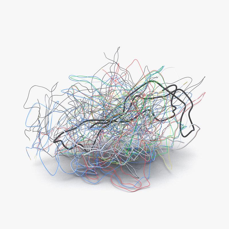 3d model of pile colorful plastic cables