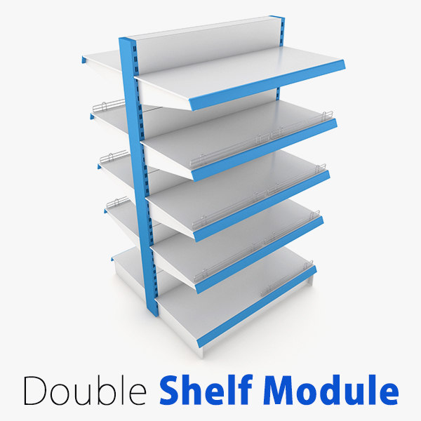 3d model supermarket double shelf module