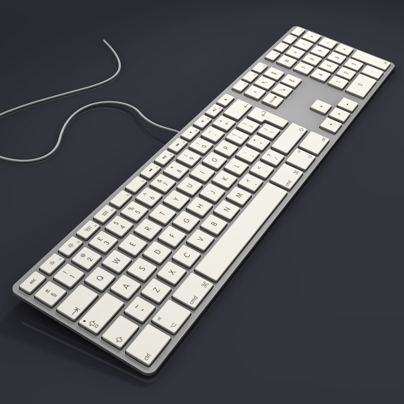 3d model aluminium usb keyboard