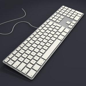 3d model aluminium usb keyboard