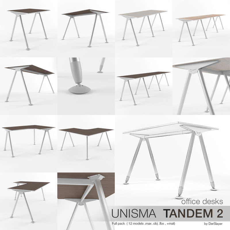 office desks unisma tandem 3d model