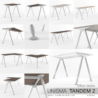 office desks unisma tandem 3d model