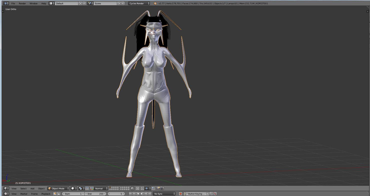 free obj model girl humanoid