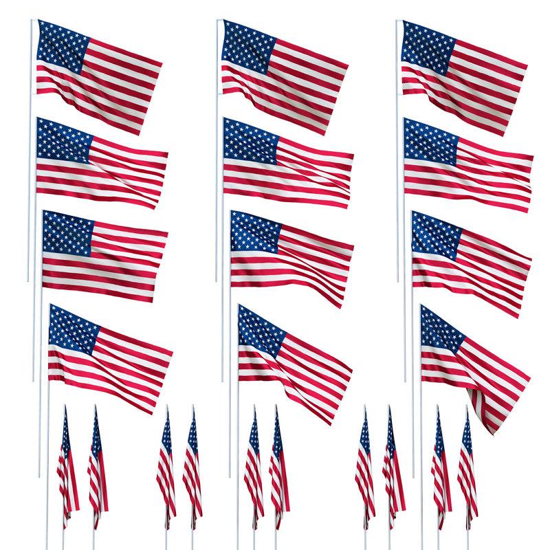 3d usa flag wind