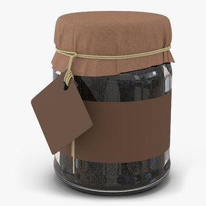 3d green tea glass jar
