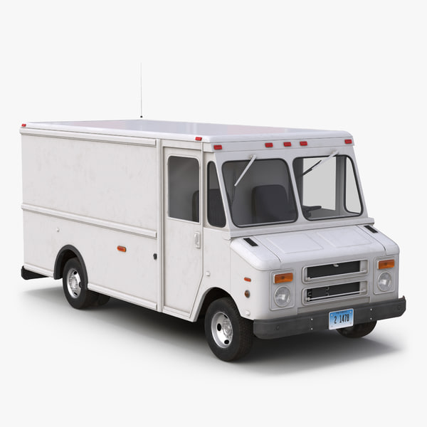 post office truck simple 3d obj