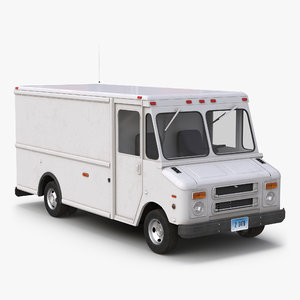 post office truck simple 3d obj