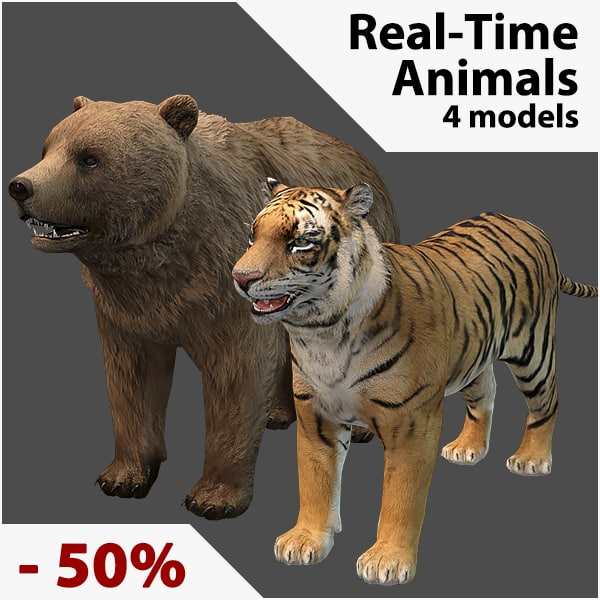 animals real-time fur obj