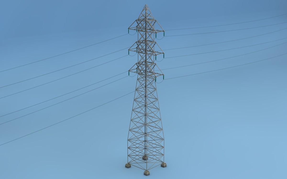 c4d tower electricity pylon
