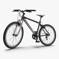 mountain bike red rigged 3d max