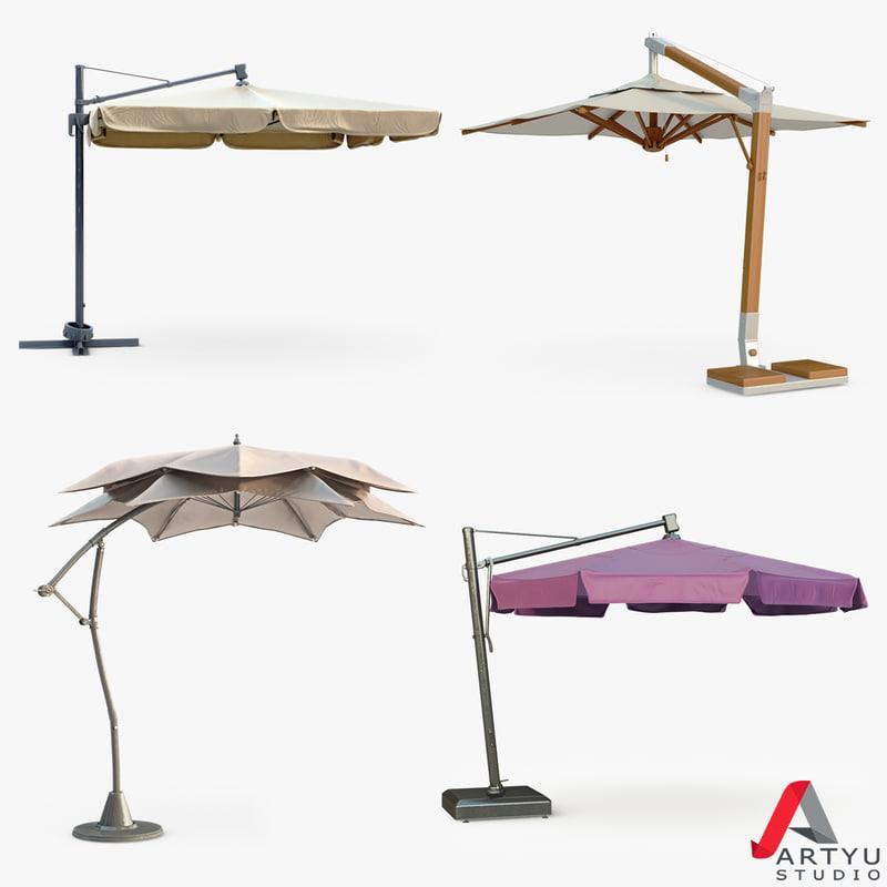 patio umbrella set 3d max