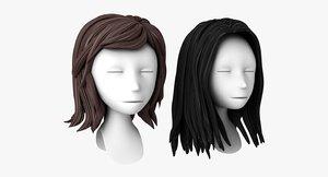 3d model head stylized hair