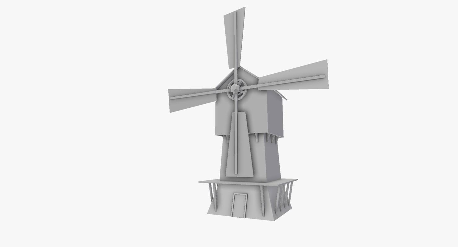 free windmill simple 3d model