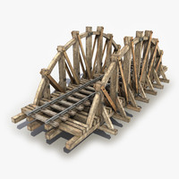 wooden railway bridge 3d model