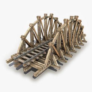 wooden railway bridge 3d model