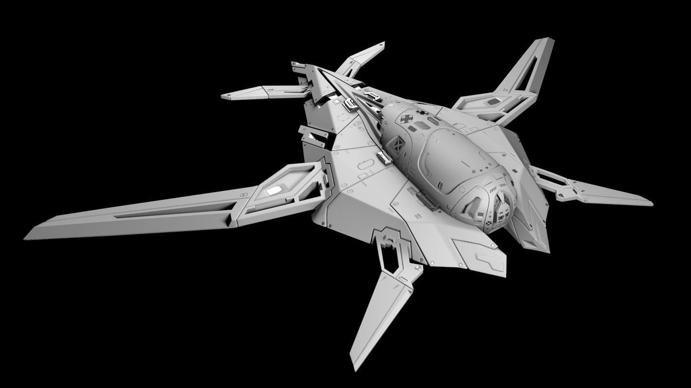 futuristic spaceship 3d obj